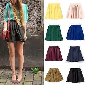 AU-Women-Stretch-Comfy-High-Waist-Mini-Skirt-Plain-Skater-Flared-Pleated-Dress