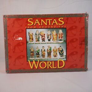 Vintage-Santa-039-s-From-Around-The-World-12-Statues-Ceramic