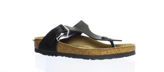 Birkenstock Womens Gizeh Black T-Strap Sandals EUR 38 (1140514)