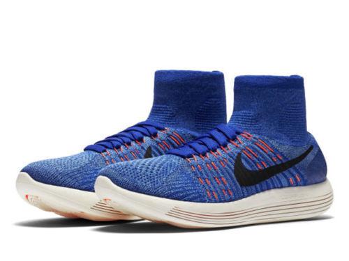NEW Nike LunarEpic Flyknit Womens Running shoes Sz 10 Racer bluee Hyper orange
