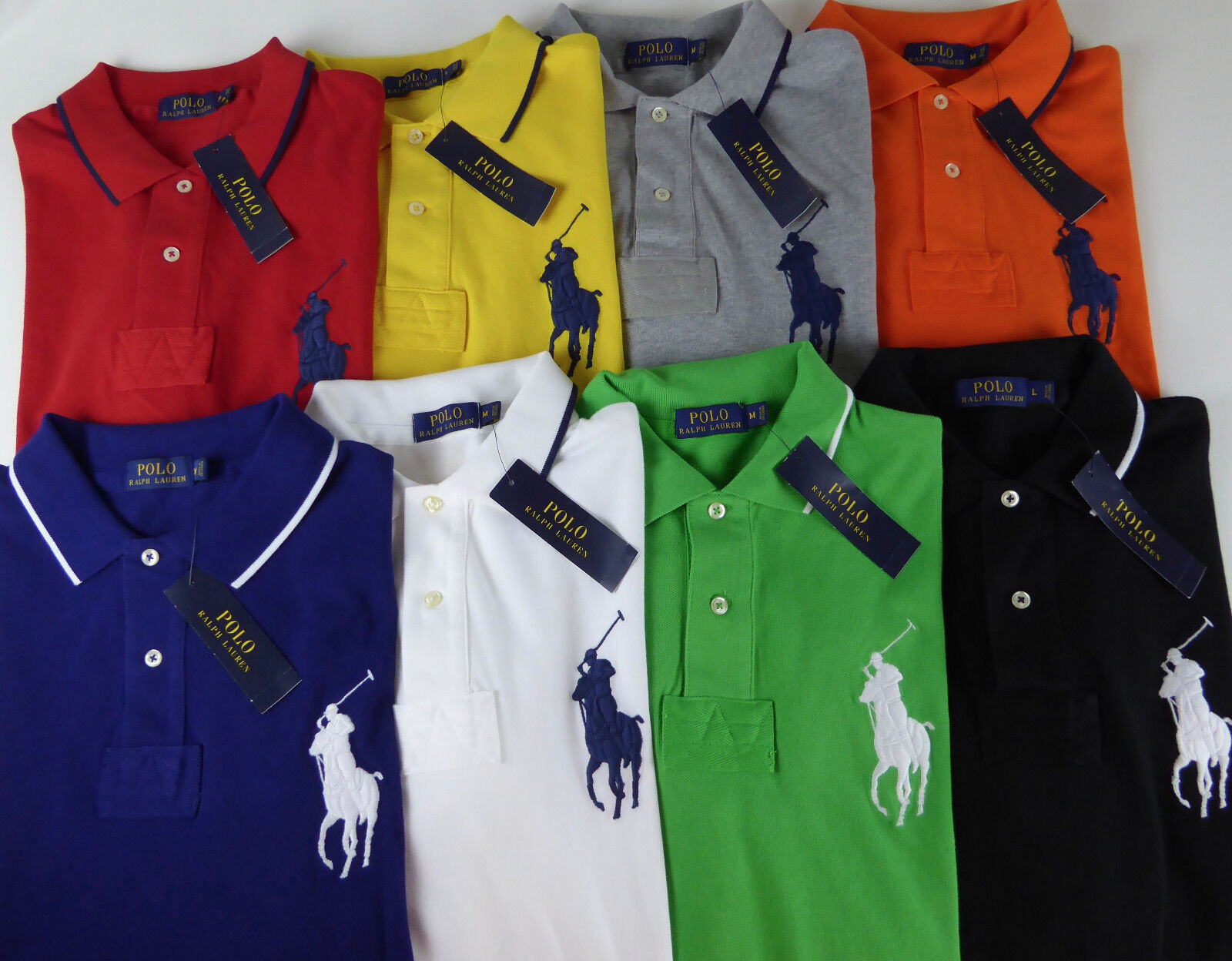 Polo Ralph Lauren SS Big Pony Mesh Rugby Shirt  NWT Striped Collar Trim