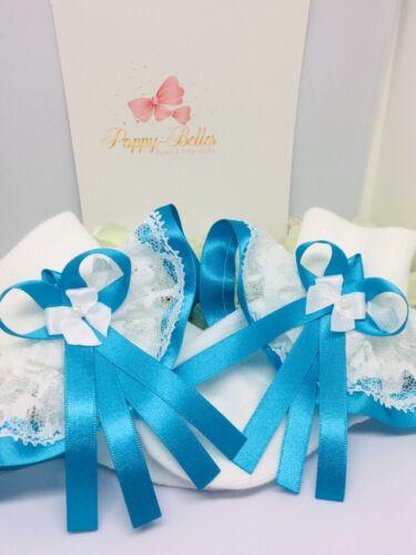 Handmade turquoise trim frilly socks baby/girls various sizes