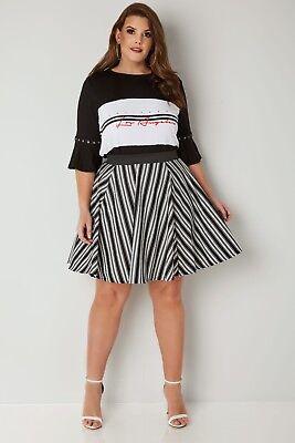 Kleidung & Accessoires Süß GehäRtet Yours Black & White Striped Skater Skirt Rrp £24 Size 16/18/20/22/24/26-28 Röcke