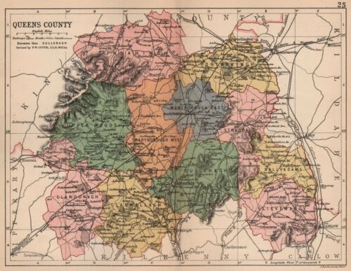Antique county map QUEENS COUNTY Ireland Leinster LAOIS BARTHOLOMEW 1882