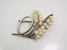 Vintage Sterling Silver & Akoya Pearl Swirl Brooch Pin