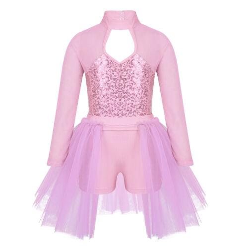 Girls Sequin Ballet Jazz Dance Dress Latin Modern Costume Stage Dancewear Tutu
