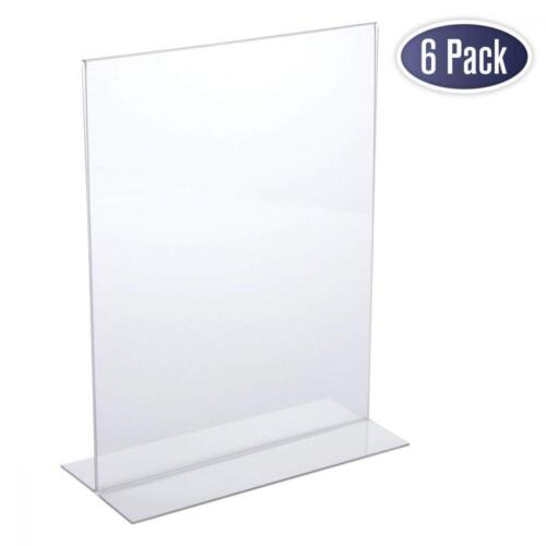 Acrylic Sign Holder 8.5 x 11 T Shape Table Top Display Stand Double Sided 6 Pk