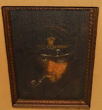 SAILOR WITH A PIPE IN THE DARK ORIGINAL OIL ON BOARD PAINTING SIGNED JOAN