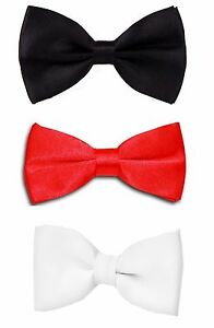 Men-039-s-Deluxe-Noeud-Papillon-Mariage-Fete-Pre-tied-Reglable-Satin-Dickie-Bow-Cravate