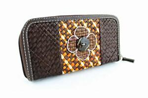 Ladies Women Straw Purse Flower Design Black Orange Brown