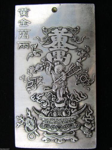 Chinese Old Tibet Silver Gold wanliang  Amulet Bullion Statue Thangka Netsuke