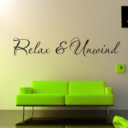 Relax And Unwind Wall Art Sticker Lounge Room Quote Decal Mural Stencil Transfer