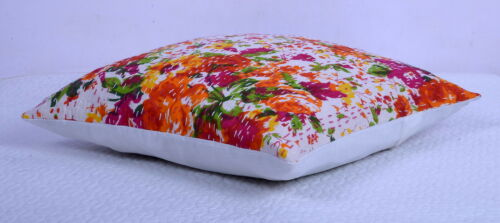 White Floral Kantha Throw Ethnic Cushion Cover Indian Ethnic Decor Pillow Case