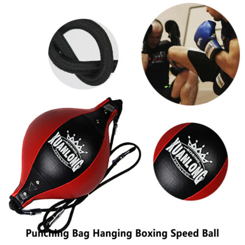 Leather Double End Boxing Speed Ball Floor to Ceiling Punch Bag MMA Training