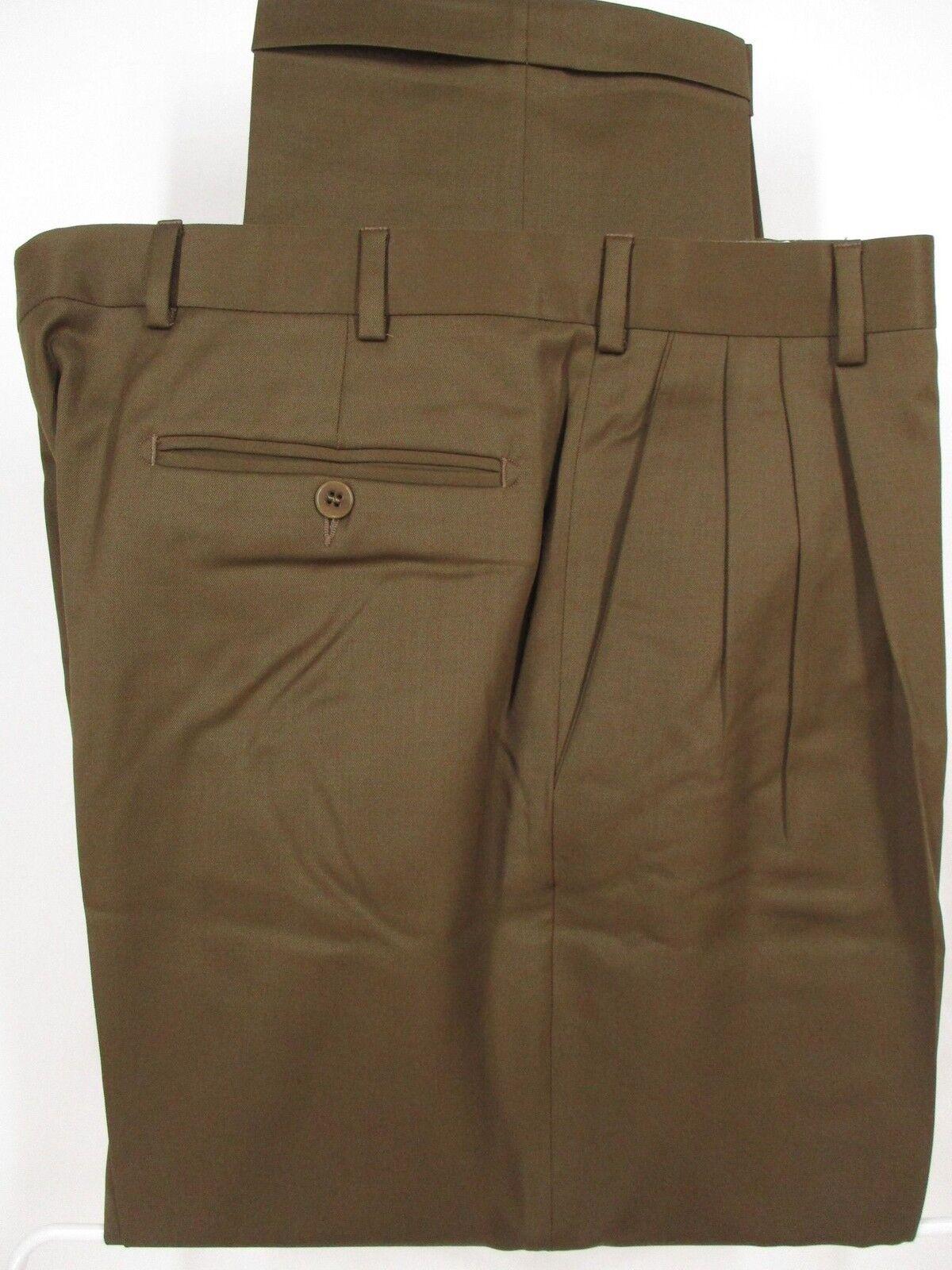 Zanella Alter Mens Brown Pleated Wool Dress Pants size 34 35x27