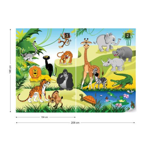 Tapete Fototapete für Kinderzimmer Tierwelt Tiere im Dschungel Giraffe Elefant
