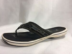 a2f21e58b Clarks Women 9 M Flip Flop Thong Sandal Black Navy Blue White Slides ...