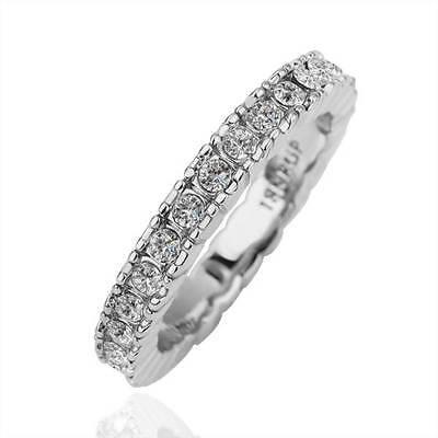 New 18K White Gold GP Solid Wedding Engagement Ring SWAROVSKI Crystal Size 8