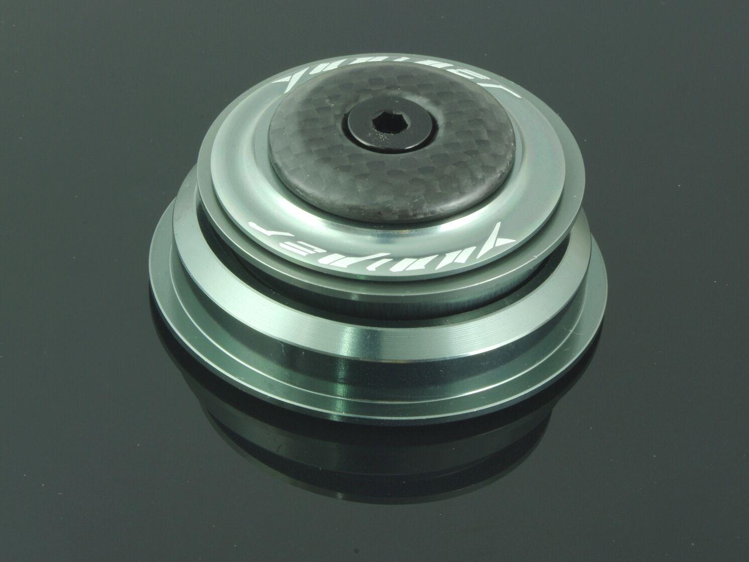 YUNIPER Tapered Steuersatz Ultralight 87g 1 1 8 auf 1.5 grey Carbon 56mm leicht