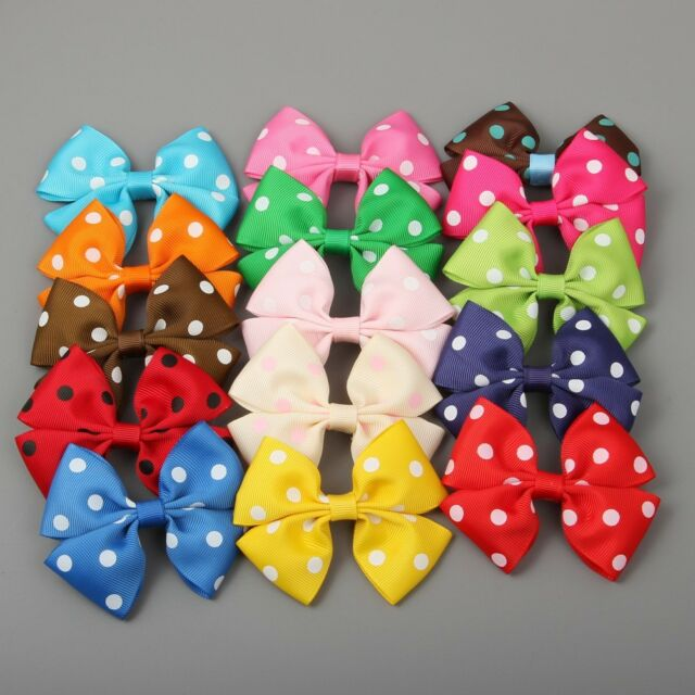 "3.5"" Polka Dot Pinwheel Baby/Girl/Toddler Hair Bow 30pcs in 15 Color Wholesale"