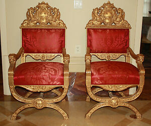 Image Is Loading MAGNIFICENT 19C PAIR OF GOLD LEAF HAND CARVED