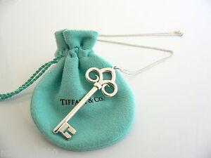 e5ce0a0ee Tiffany Co Silver Large Huge Fleur De Lis Key Necklace Pendant Charm ...