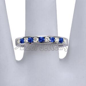 3.0ct Emerald Cut Sapphire Eternity Anniversary Wedding Band 14k White Gold Over