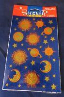 Vintage American Greetings Prismatic Stickers - Sun Moon Saturn Stars - Unopened