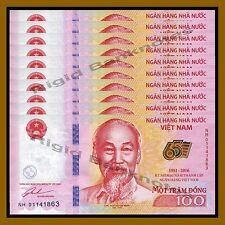 10 Pcs x Vietnam (Vietnamese) 100 Dong, 2016 P-New 65th Ann. of Independent Unc