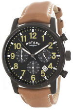 Rotary Men's Black Dial Brown Leather Strap Chronograph Watch GS00433/04