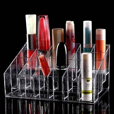Women Clear Acrylic 24 Lipstick Holder Cosmetic Organizer Display Makeup Case ID