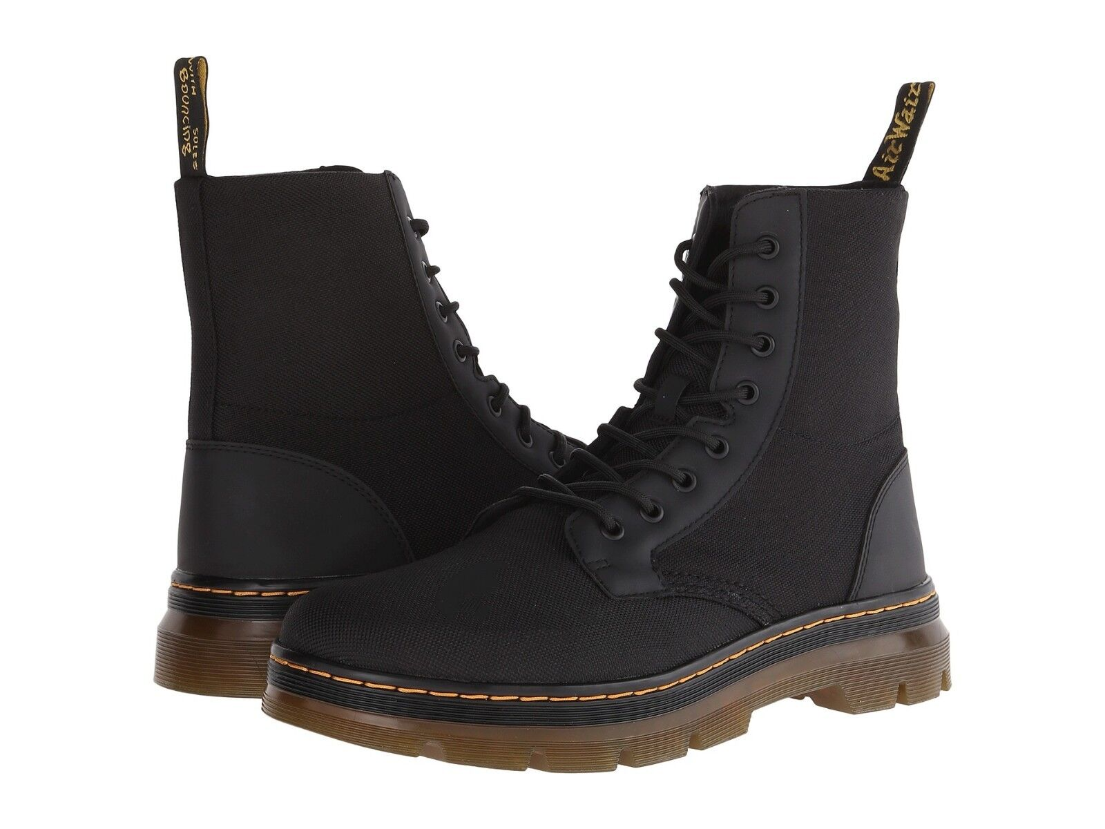 Men's Shoes Dr. Martens COMBS 8 Eye Nylon Combat Boots 16607001 BLACK
