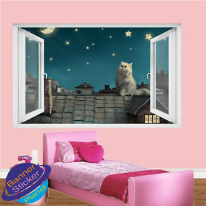 office wall stickers. Image Is Loading WHITE-PUSSY-CAT-ROOF-STARS-MOON-ROOM-NURSERY- Office Wall Stickers D