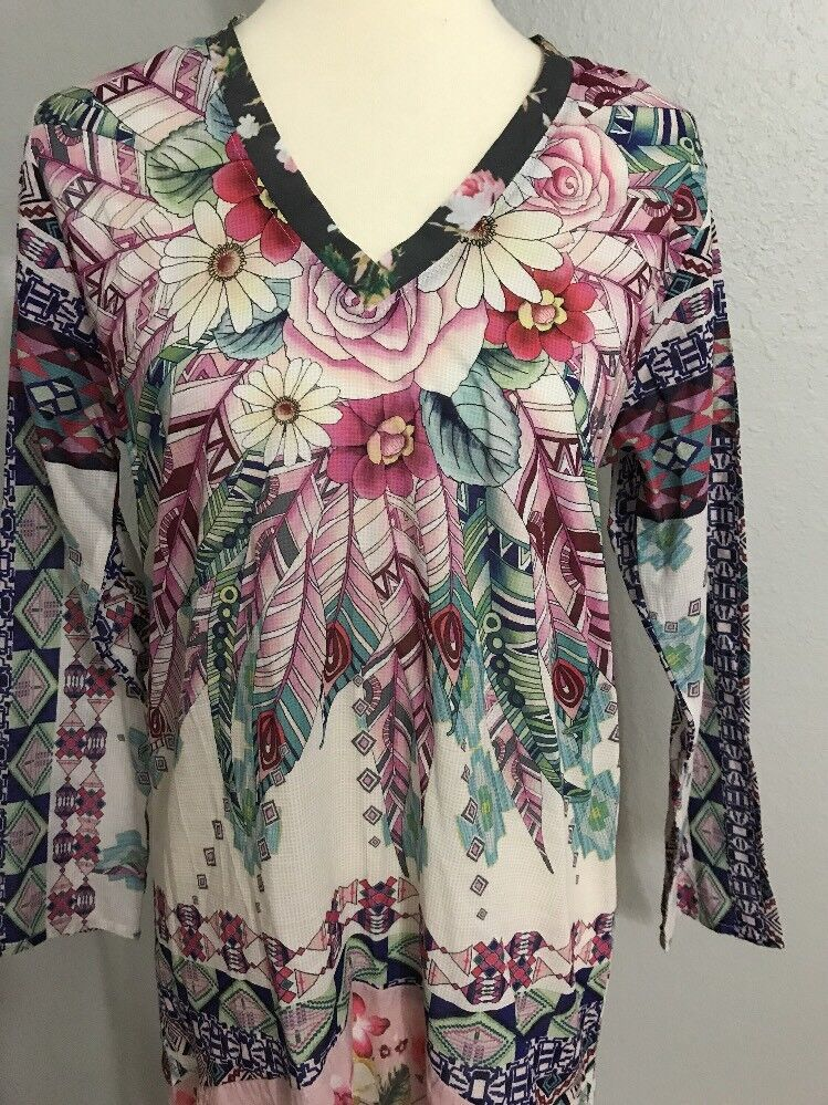 NWT Johnny Was Floral & Feathers Print Tribeca Flowy Cotton Tunic M