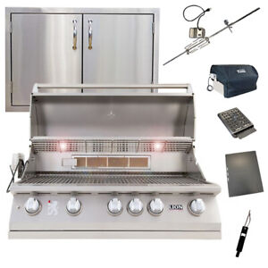 Lion 40-Inch 5-Burner Grill L90000 w/ Made In USA 32-Inch Double Access Door