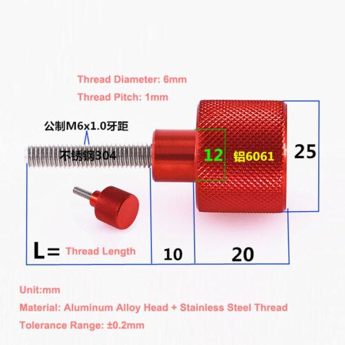 M6 Aluminum Alloy Head Stainless Steel Thread Knurled Thumb Screws Hand Twist