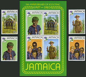 Jamaica 528-531,531a S/S, MNH. Scouting Year. Scouts, Boden-Powell, 1982