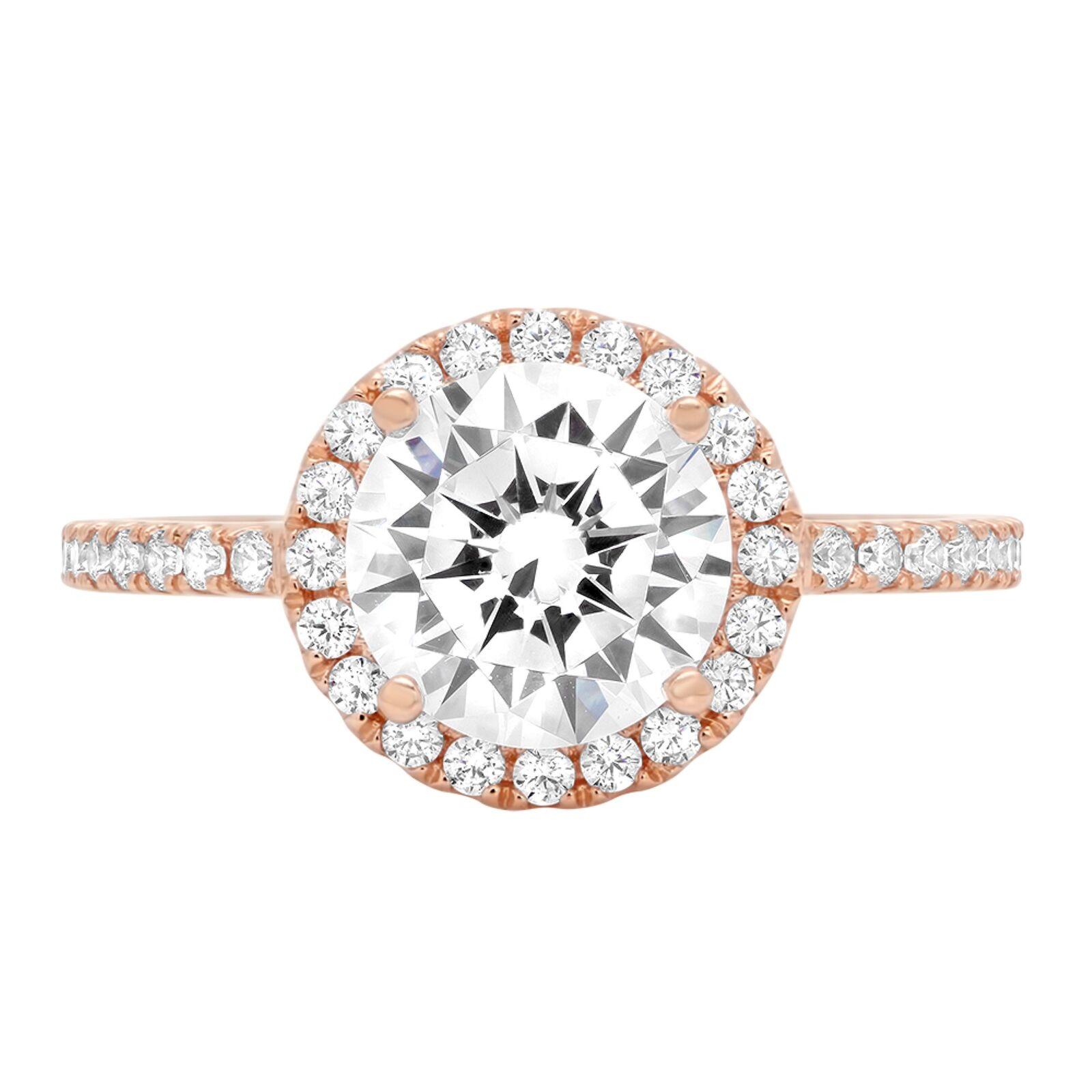 1.95ct Round Cut Halo Wedding Promise Engagement Bridal Ring 14k pink gold