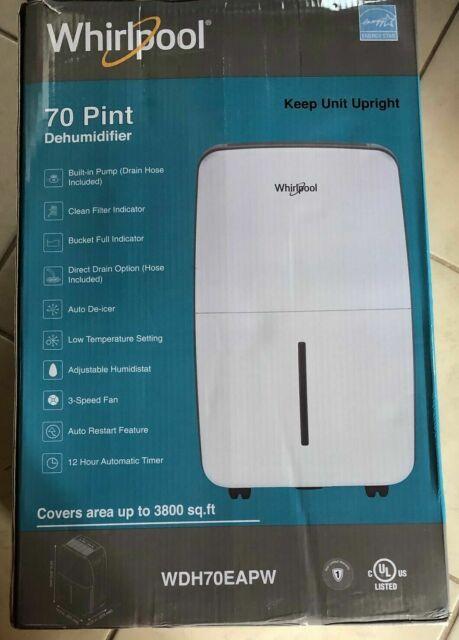Whirlpool Energy Star 70 Pint Dehumidifier With Pump WDH70EAPW With Box