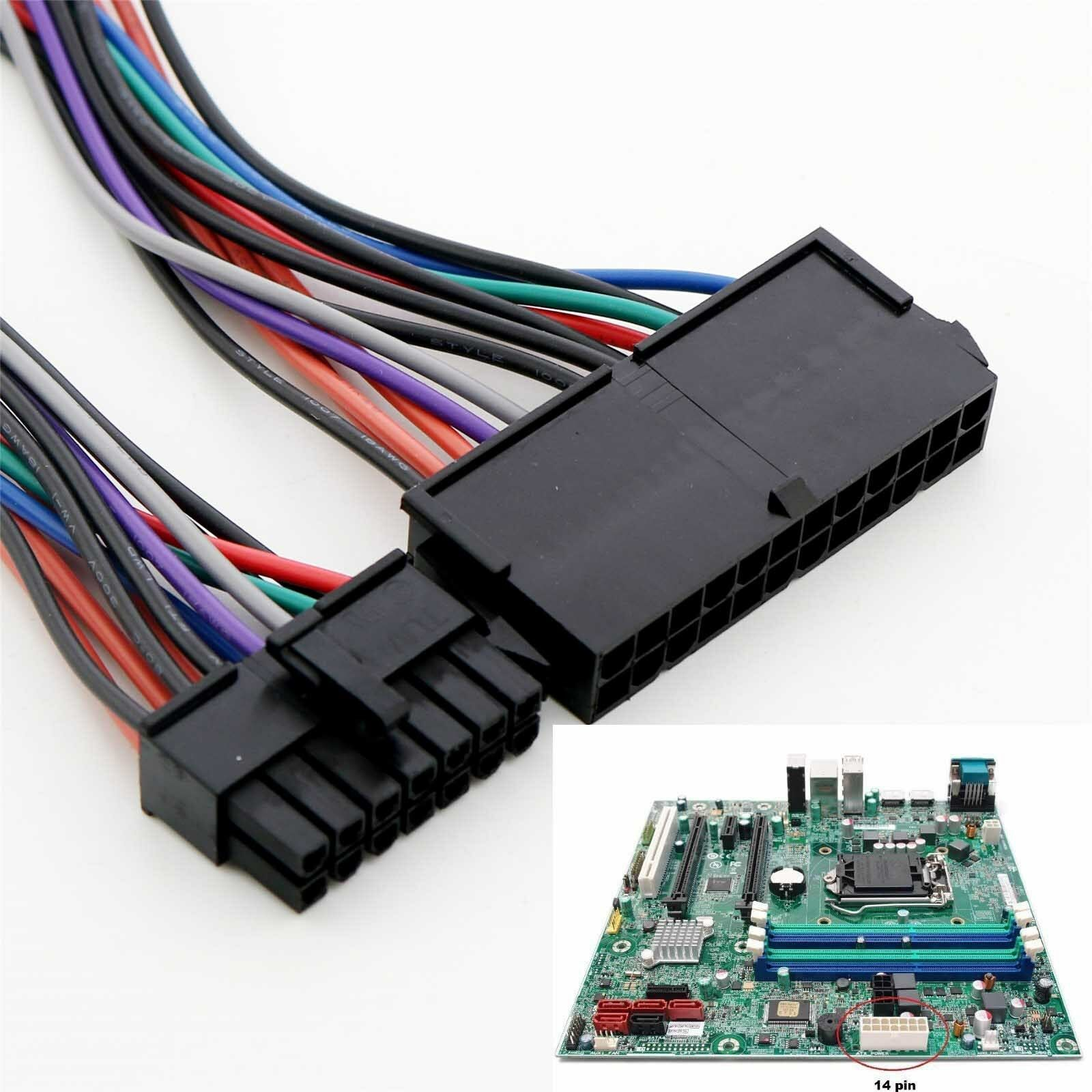 24 Pin to 14 Pin PSU Main Power Supply ATX Adapter Cable Compatible with Lenovo IBM 24p 14p