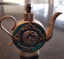 Chinese Dragons, Phoenixes, & Butterflies w/ Monkey on Lid  Green Jade Teapot
