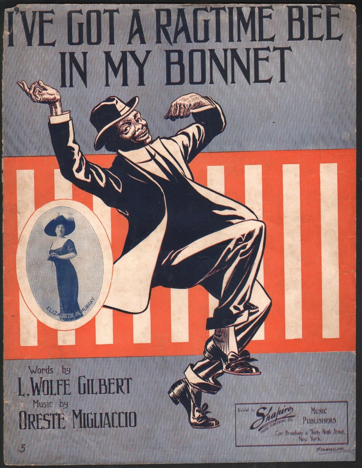 I've Got A Ragtime Bee In My Bonnet 1911 Large Format Sheet Music