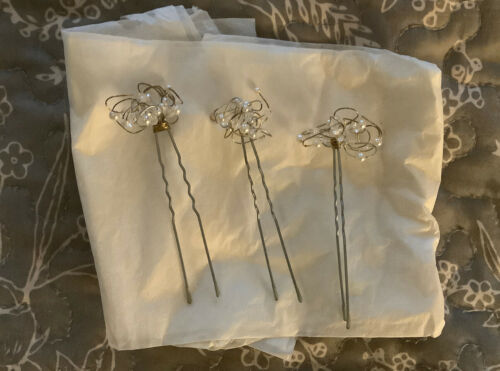 Erin Cole Hairpins, Set Of 3, Pearl & Crystal Clu… - image 1