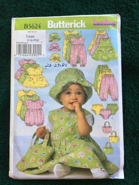 Jumpsuit BUTTERICK PATTERNS B5624 Infants Dress Jumper Hat and Bag Panties L-XL Size LRG Romper