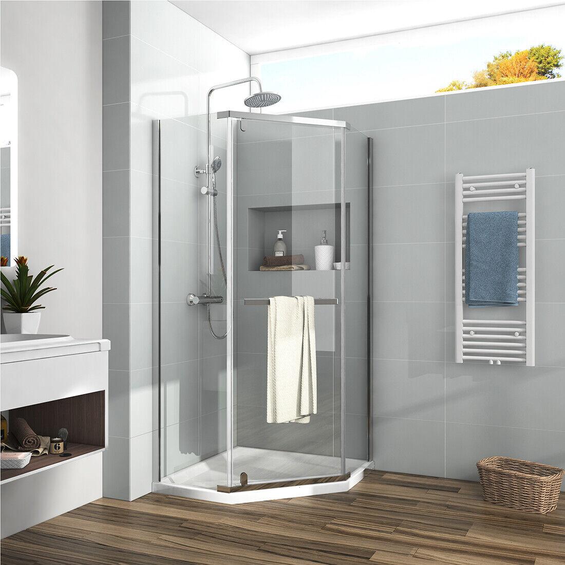 Bath Neo Angle Frameless Pivot Corner Shower Enclosure Chrome 1 4 Safety Glass