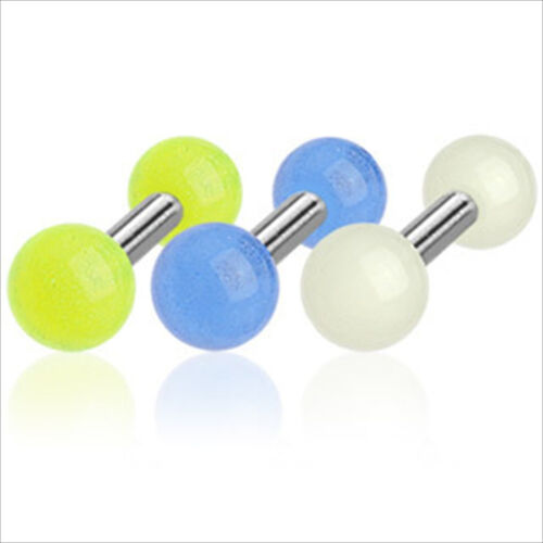 """1 PC 16g 1//4/"""" Barbell Ear Cartilage Tragus Earring Stud Glow In the Dark White"""