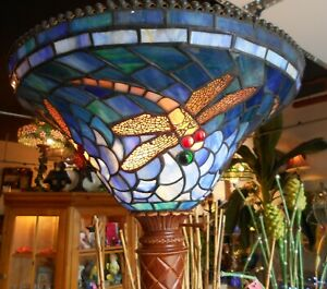 Fabulous Torchiere Floor Lamp W Stained Glass Dragon Fly Shade 74