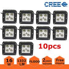 10X 3inch 16W Square Cube Pod Flood Cree LED Work Light Bumper OffRoad SUV Truck