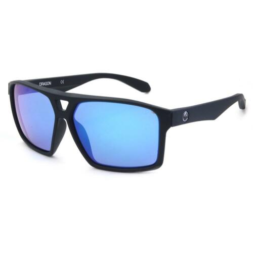 Matte Deep Navy with Blue Ion Mirror Lens Dragon DR CHANNEL ION 414 Sunglasses