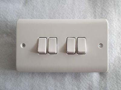 1 Way Plate Switch 10AMP Polished White 140mm x 84mm Ashley 4 Gang 2 Way